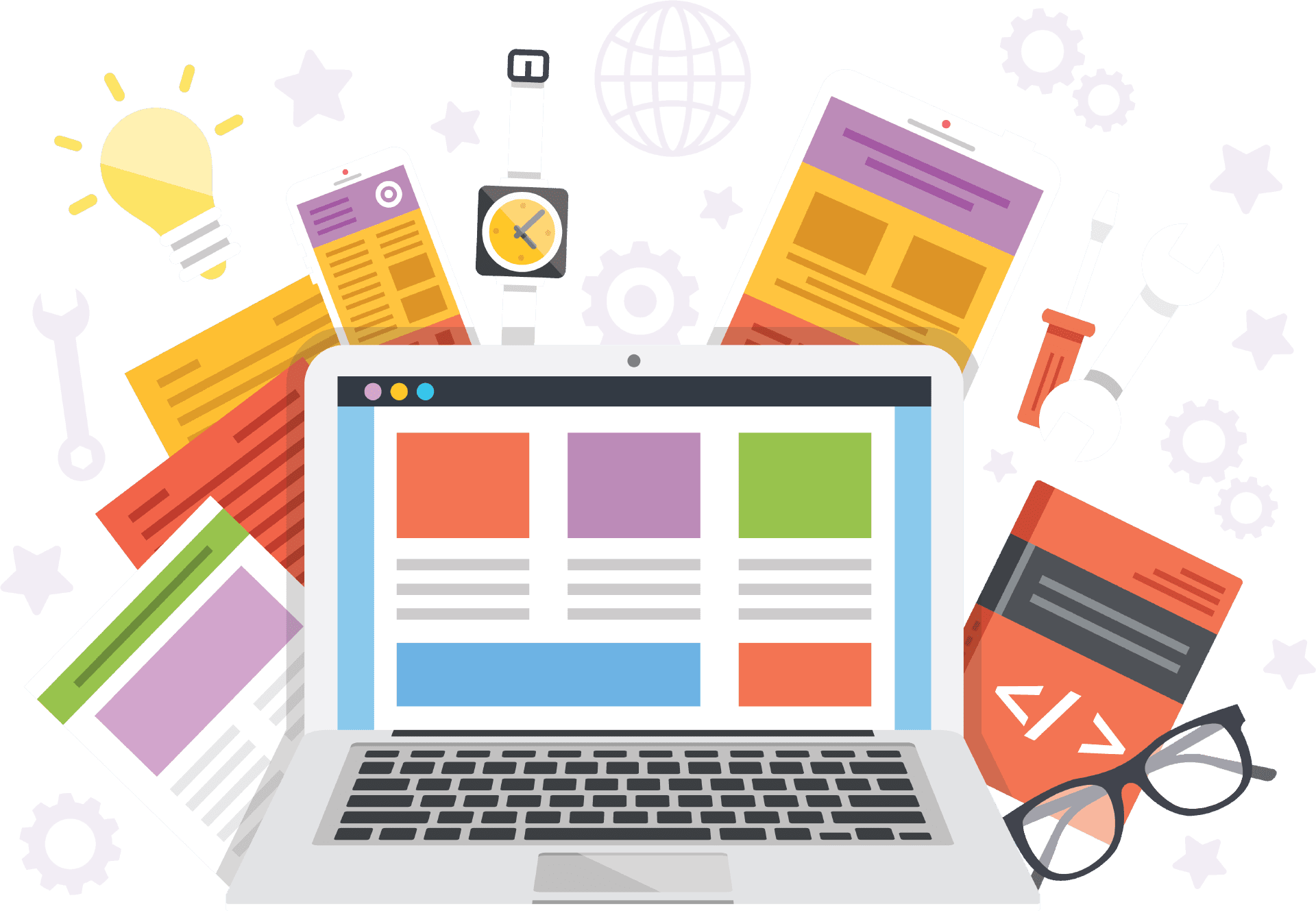 Illustration of various items relating to digital design and web development